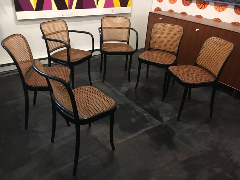 Czech Set of Six Modern Cane Dining Chairs Josef Frank For Sale