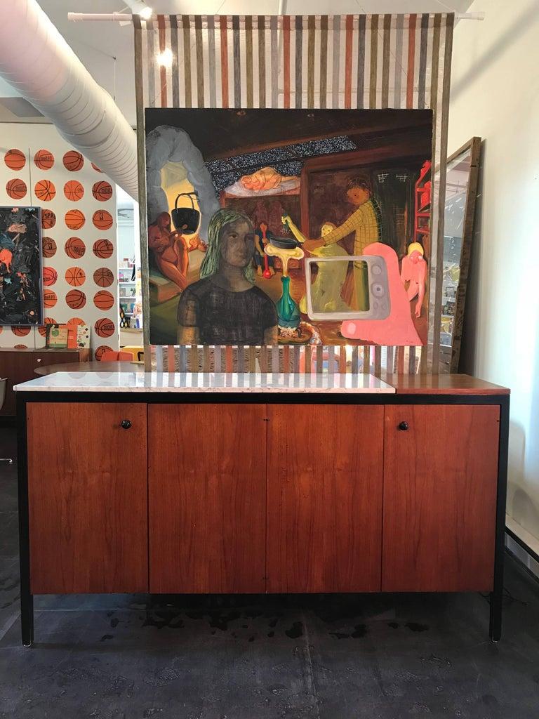 Mid-Century Modern George Nelson Teak Marble Double Buffet, Herman Miller, 1959 For Sale