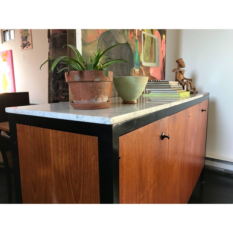 George Nelson Teak Marble Double Buffet, Herman Miller, 1959 In Excellent Condition For Sale In Brooklyn, NY