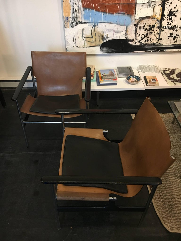 Mid-Century Modern Charles Pollock Sling Lounge Chairs, Pair for Knoll 1960 For Sale