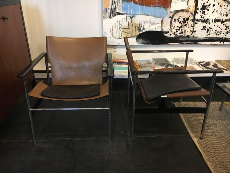 American Charles Pollock Sling Lounge Chairs, Pair for Knoll 1960 For Sale
