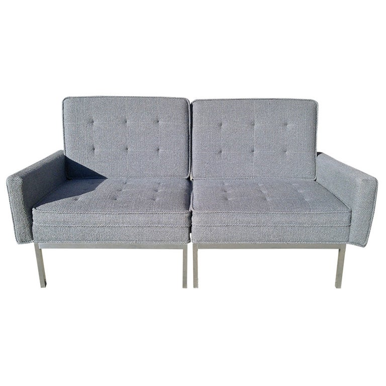 Florence Knoll Split Settee Lounge Chair Set for Knoll, circa 1960s For Sale