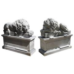 "Pair of Large Carved Stone Lions on Pedestals, ""The Sleeping and The Vigilant"""