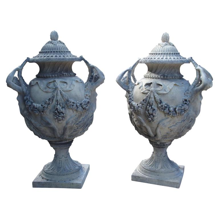 Stunning Pair of Cast Grey Stone Urns from the Margam Park Originals 1