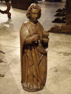 Circa 1600 Carved Solid Oak Statue of St John The Evangelist