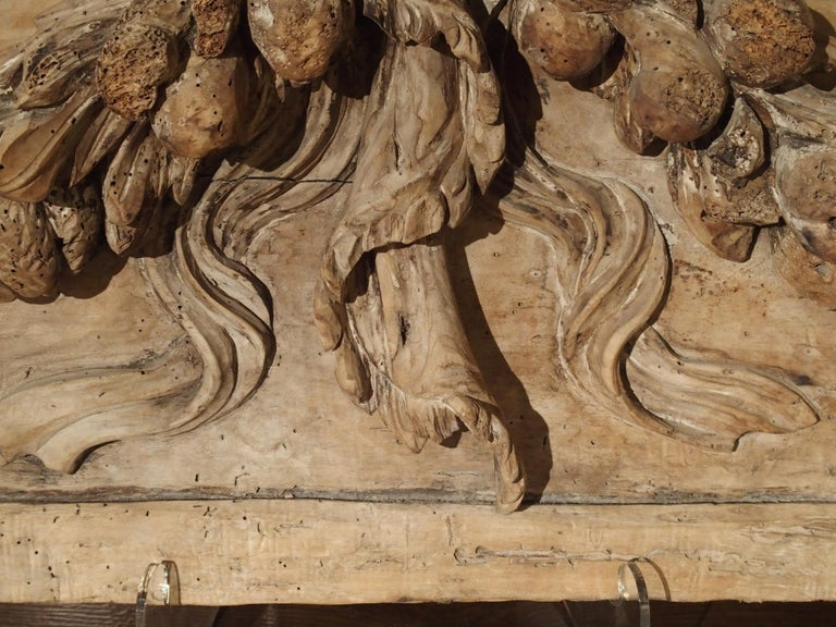 Baroque Stripped 19th Century Carved French Overdoor Element For Sale