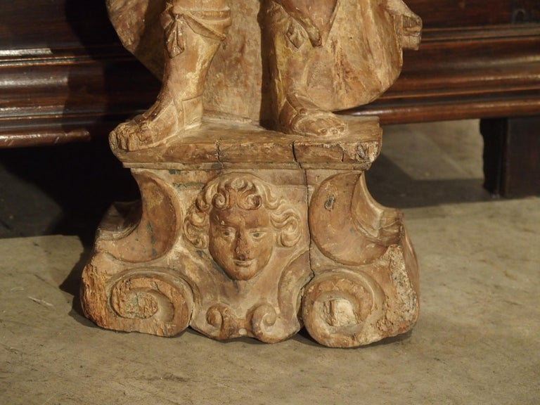Beautiful Pair of Stripped 17th Century Italian Torchbearer Candleholders For Sale 13