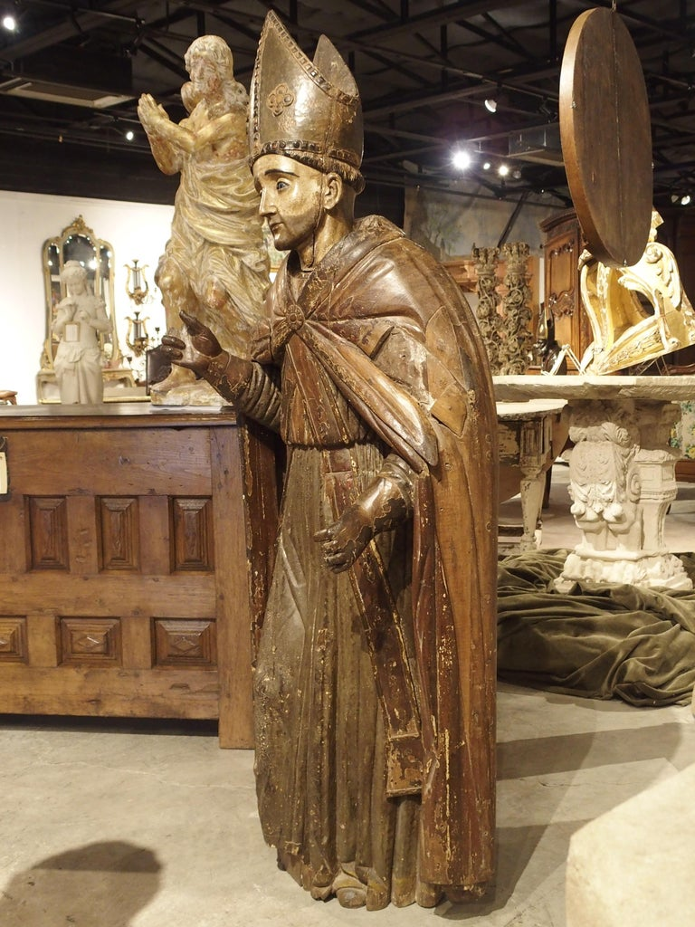 Large Antique Polychromed Wood Statue of a Bishop, circa 1650 For Sale 1
