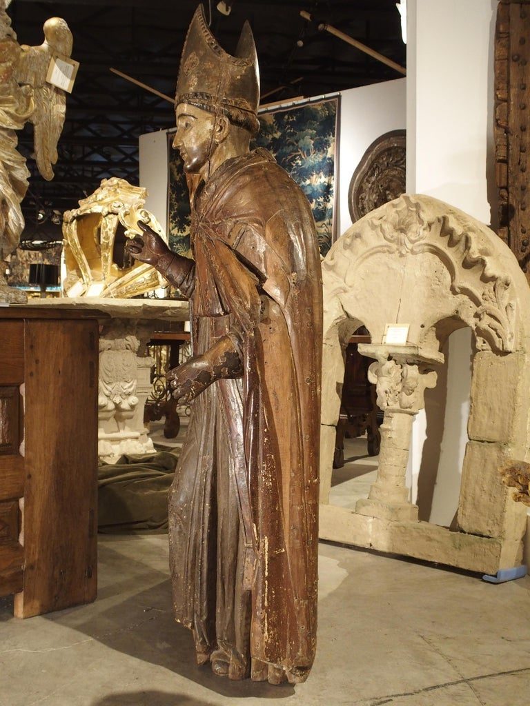Large Antique Polychromed Wood Statue of a Bishop, circa 1650 For Sale 5