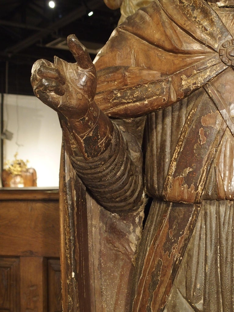 Large Antique Polychromed Wood Statue of a Bishop, circa 1650 For Sale 12