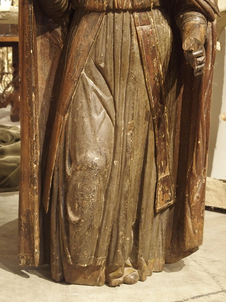German Large Antique Polychromed Wood Statue of a Bishop, circa 1650 For Sale