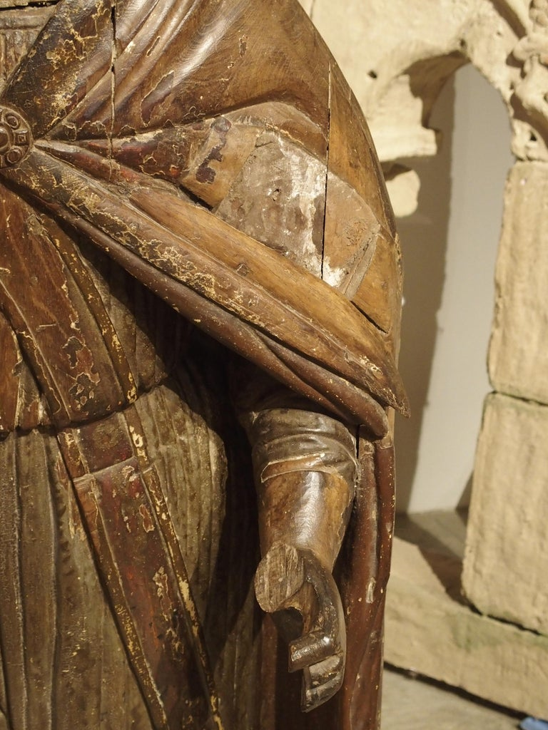 Fabric Large Antique Polychromed Wood Statue of a Bishop, circa 1650 For Sale