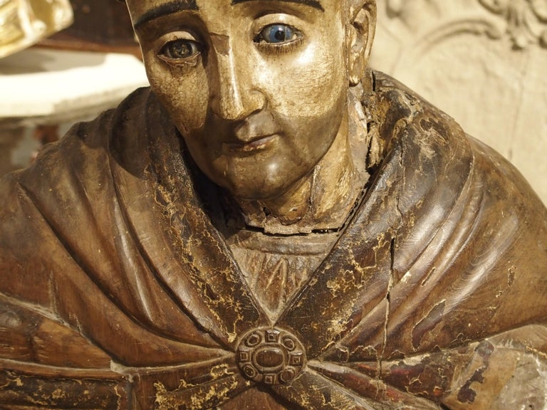 Large Antique Polychromed Wood Statue of a Bishop, circa 1650 For Sale 3