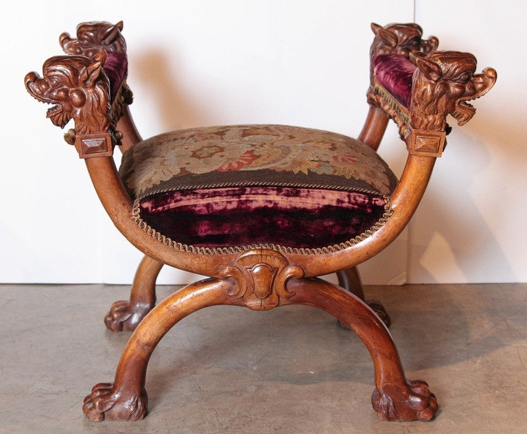 Antique Walnut Wood Curule Seat From France Circa 1880 At