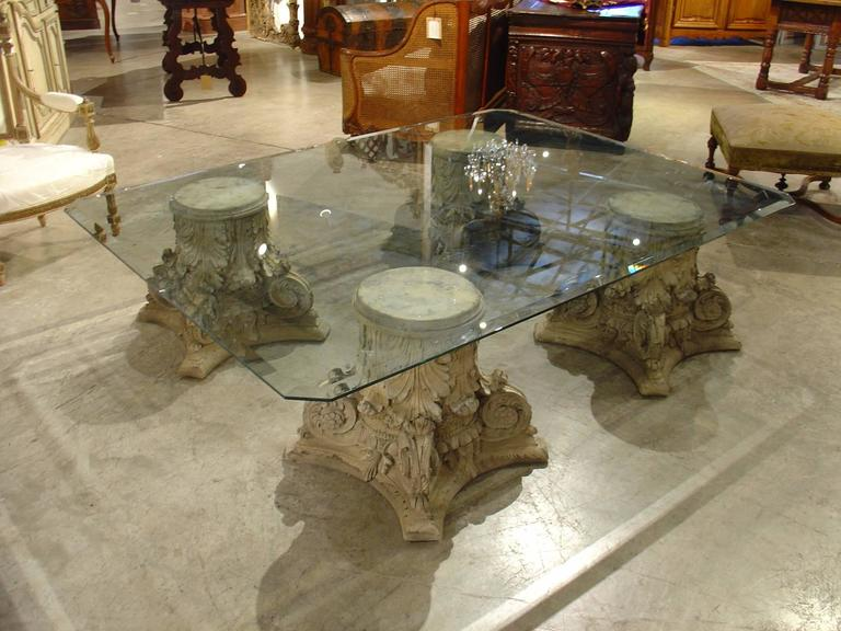 French Beveled Gl Top Coffee Table On Cast Stone Corinthian Capital Bases For