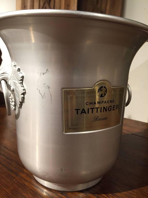 Aluminum Taittinger Reims Vintage French Champagne Bucket For Sale