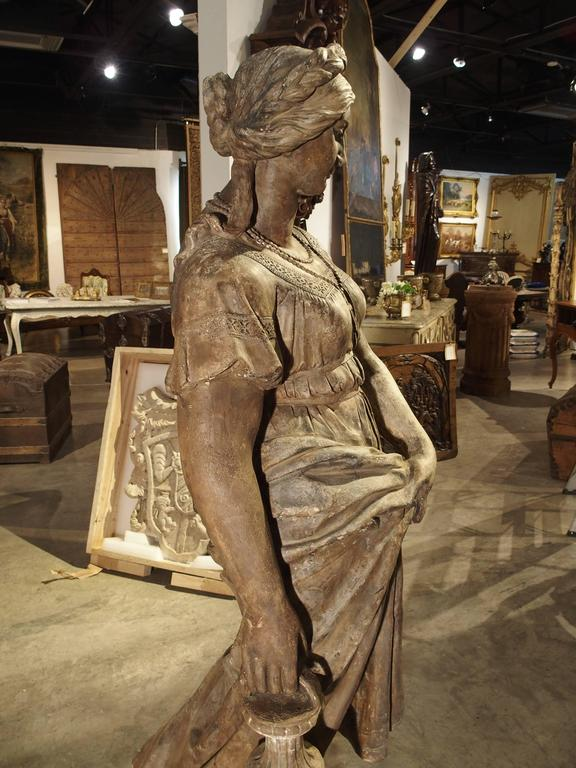 Lifesize Antique Terra Cotta Statue Of A Woman At 1stdibs