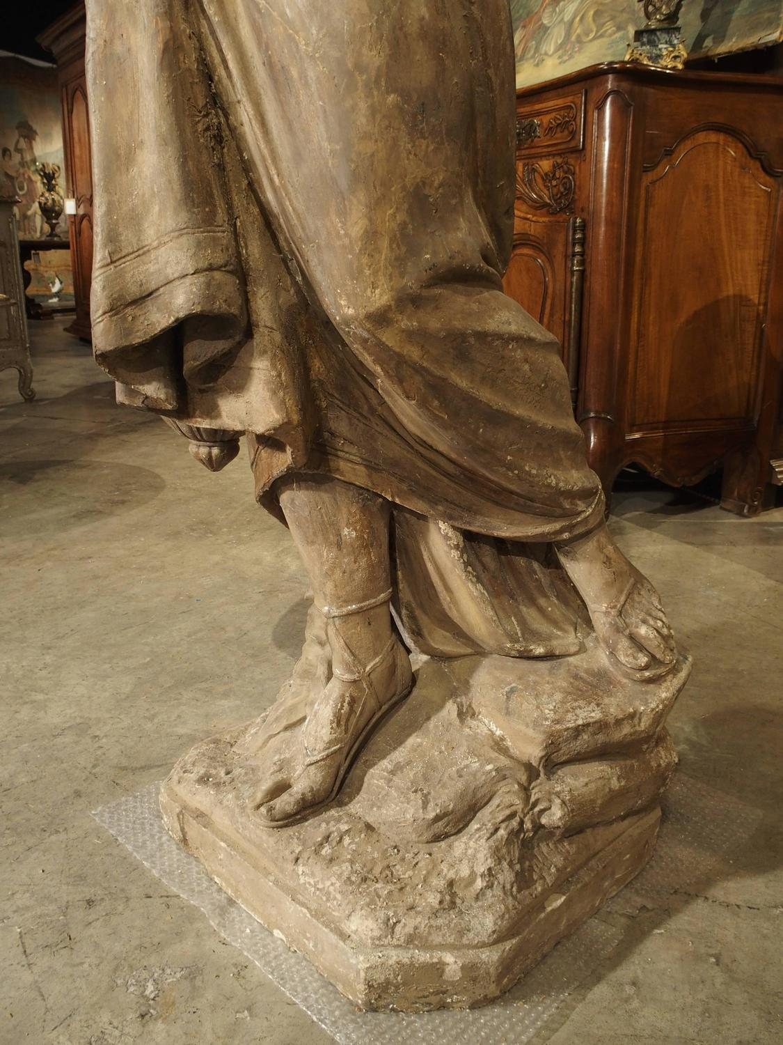 Old Garden Statue: Lifesize Antique Terra Cotta Statue Of A Woman For Sale At