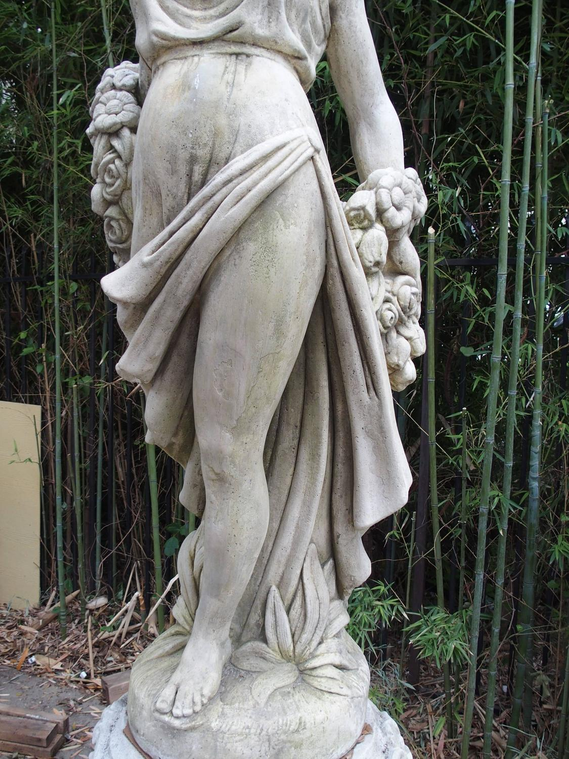 Cast Stone Garden Statue From France Quot Femme A La Rose Quot At 1stdibs