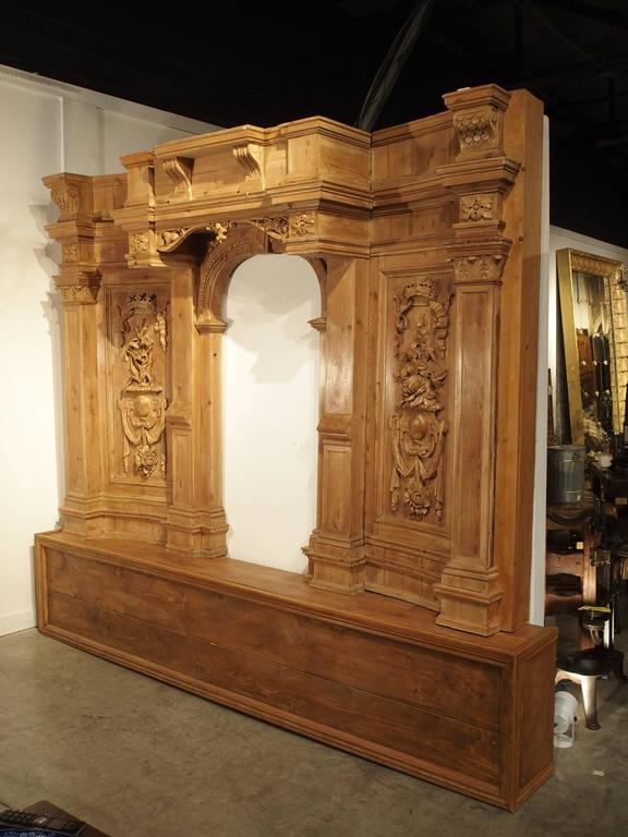 Softwood Large and Unique Antique French Boiserie with Covered Alcove, 17th Century For Sale