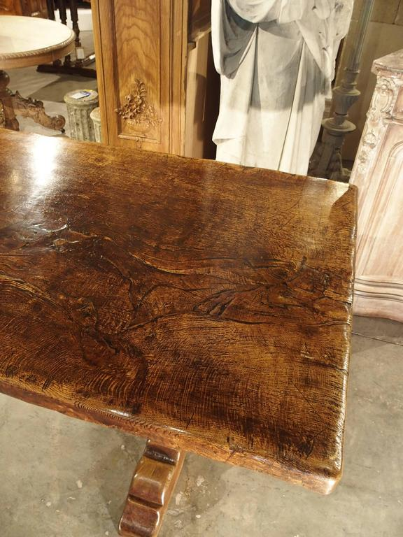 Antique Oak Single Board Dining Table From France Late