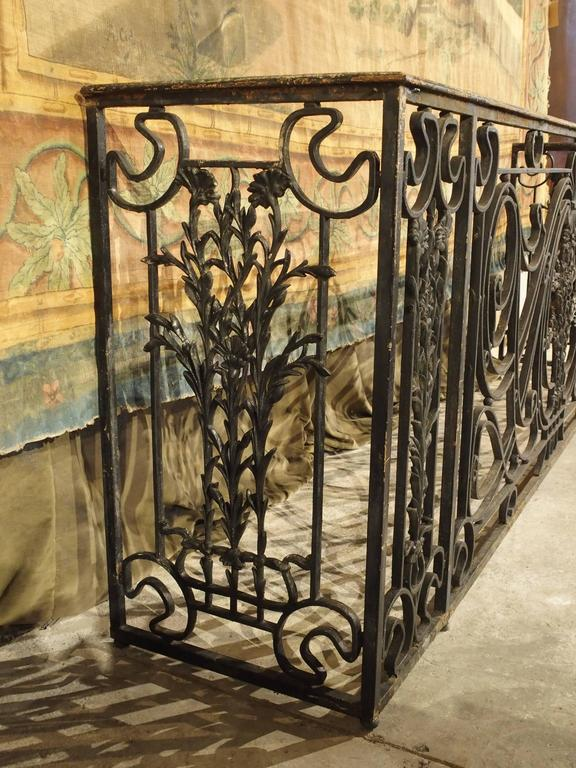Antique Forged And Cast Iron French Balcony Gate Console