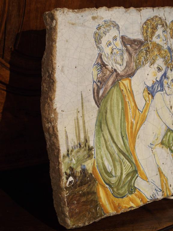 Antique Painted Tile From Italy 17th Century For Sale At