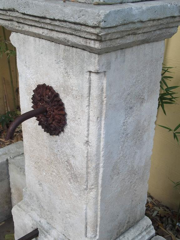 French Carved Limestone Wall Fountain from France For Sale