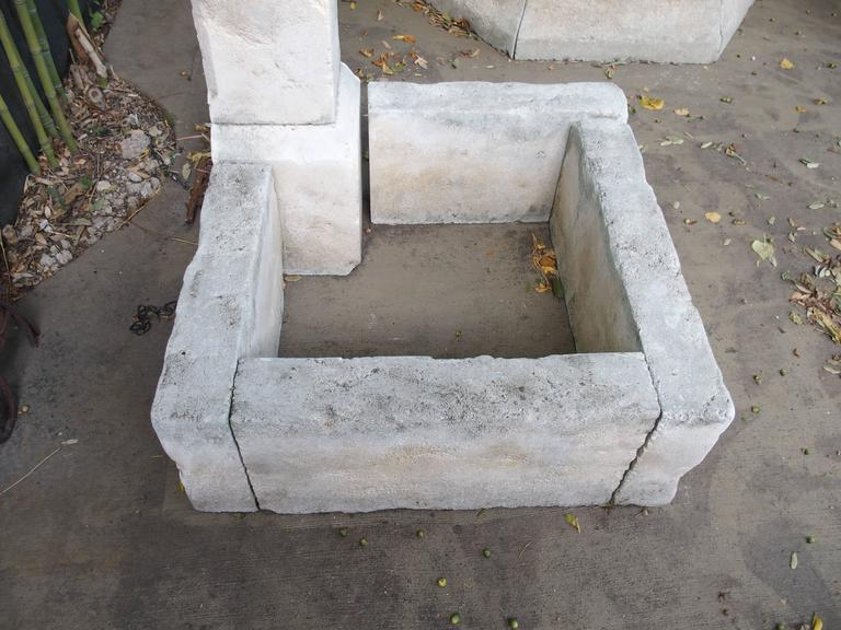 French Carved Limestone Corner Fountain from France For Sale