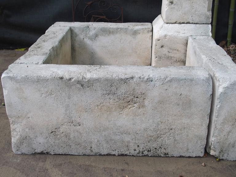 Carved Limestone Corner Fountain from France For Sale 3
