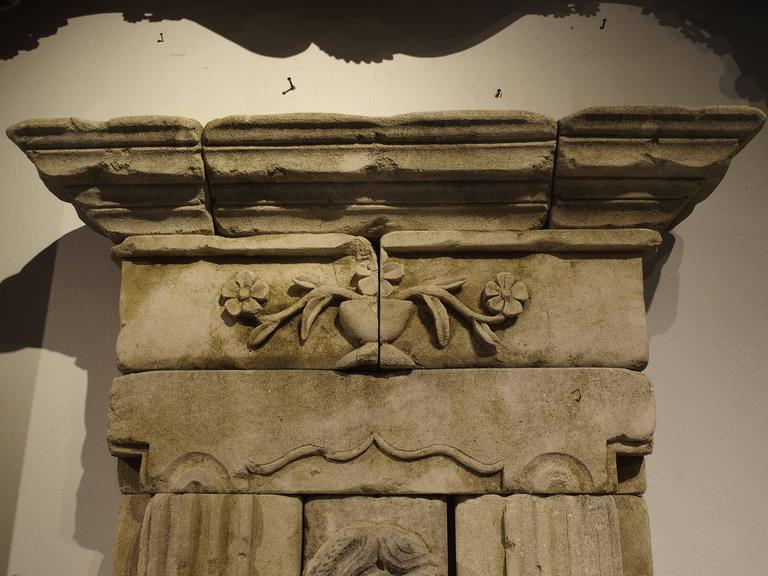 French Large Carved Limestone Wall Fountain from France For Sale
