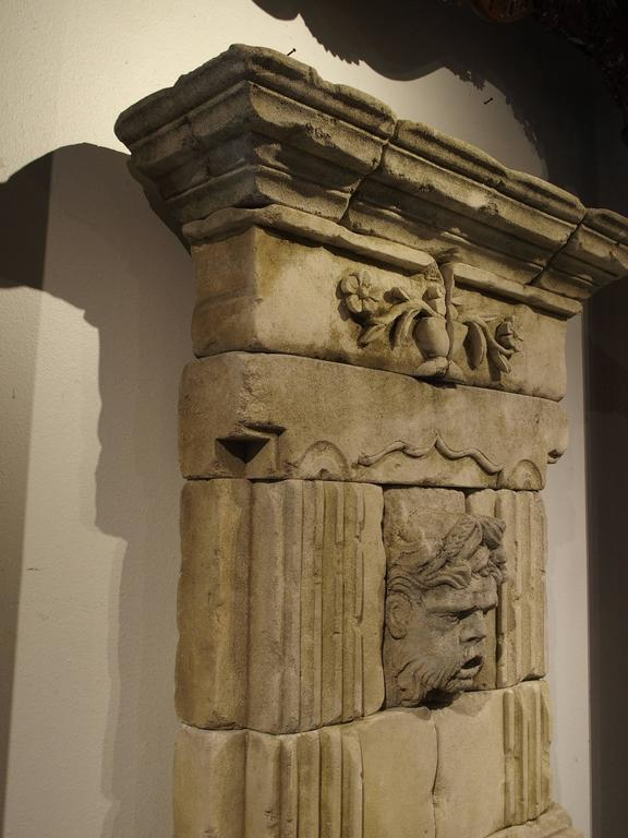 Late 20th Century Large Carved Limestone Wall Fountain from France For Sale