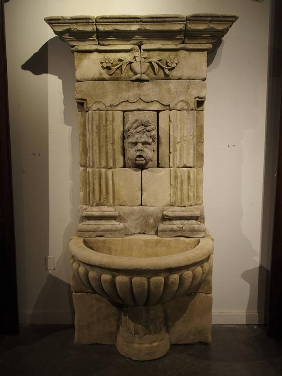 Large Carved Limestone Wall Fountain from France In Good Condition For Sale In Dallas, TX