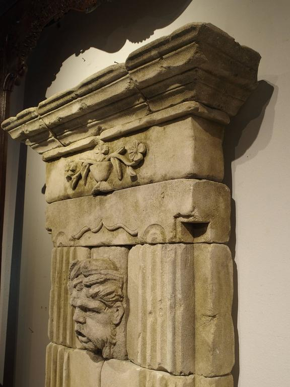 Large Carved Limestone Wall Fountain from France For Sale 1