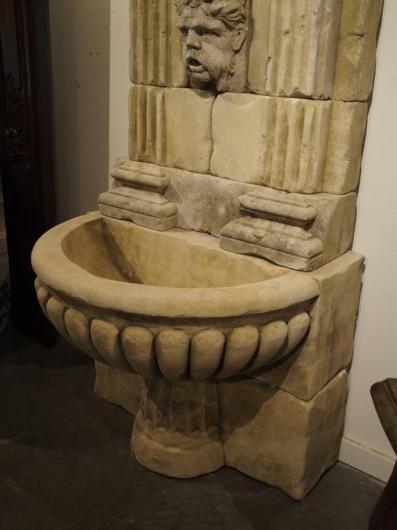 Large Carved Limestone Wall Fountain from France For Sale 4