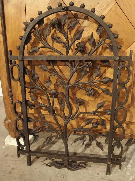 Antique Hand Wrought Window Iron Gate From Italy Circa