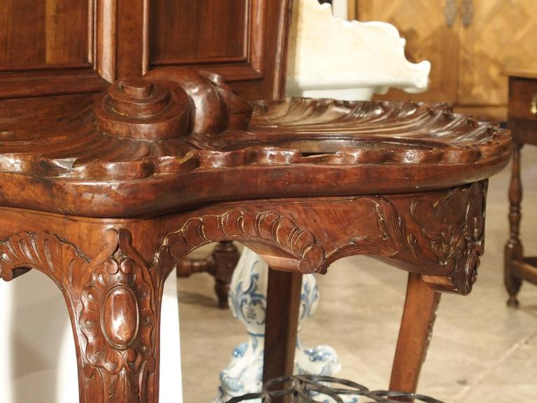 Louis XV Antique French Walnut Wood Hall Rack and Umbrella Stand, circa 1880 For Sale