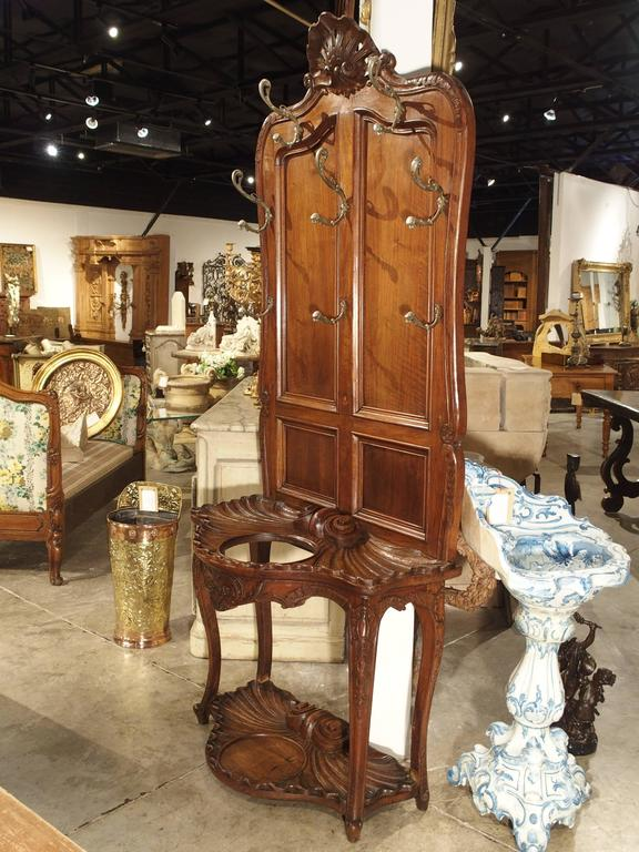 Carved Antique French Walnut Wood Hall Rack and Umbrella Stand, circa 1880 For Sale