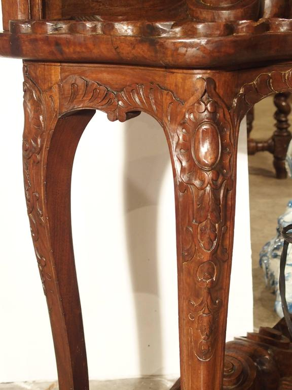 Antique French Walnut Wood Hall Rack and Umbrella Stand, circa 1880 In Good Condition For Sale In Dallas, TX