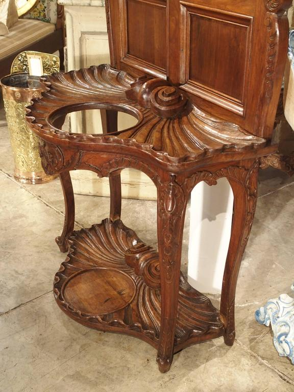 19th Century Antique French Walnut Wood Hall Rack and Umbrella Stand, circa 1880 For Sale