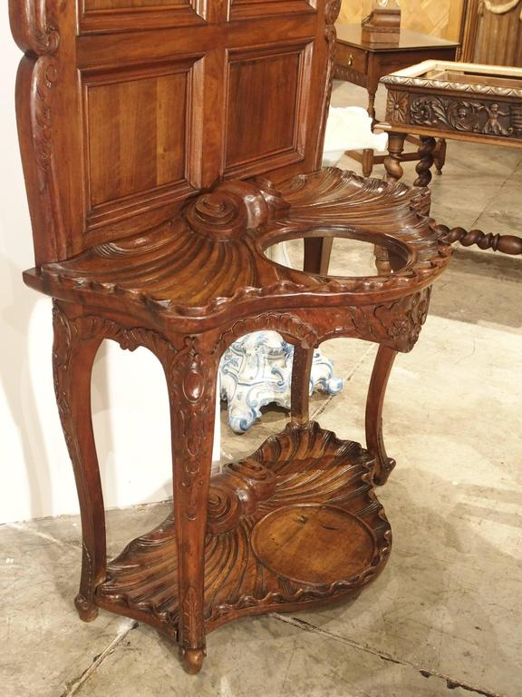 Antique French Walnut Wood Hall Rack and Umbrella Stand, circa 1880 For Sale 3
