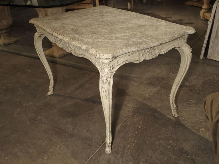 Painted Antique Louis XV Style Center Table with Faux Marble Top For ...