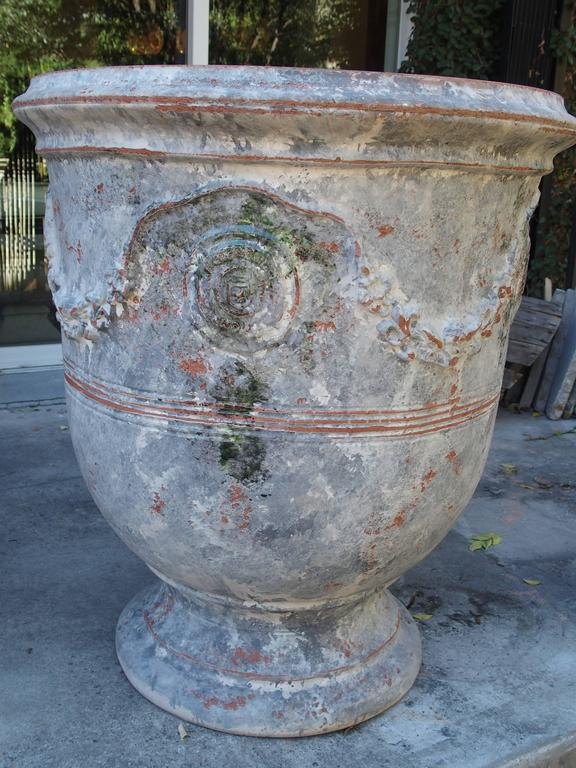 Pair of large painted and distressed anduze pots france - Planters contact provence ...