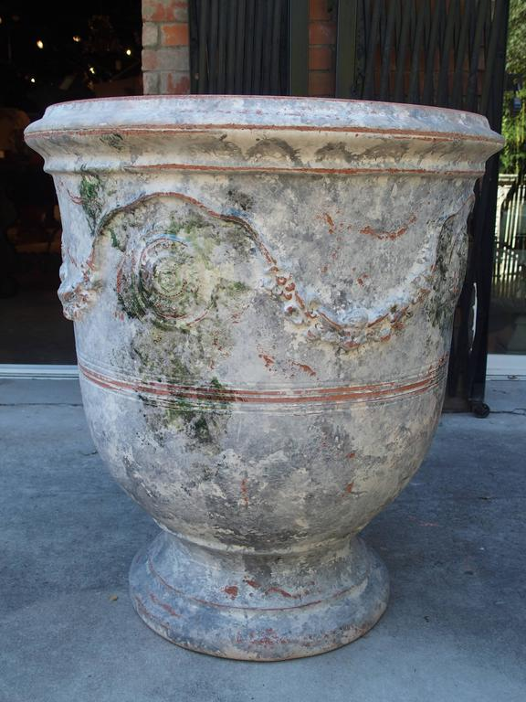 Pair Of Large Painted And Distressed Anduze Pots France