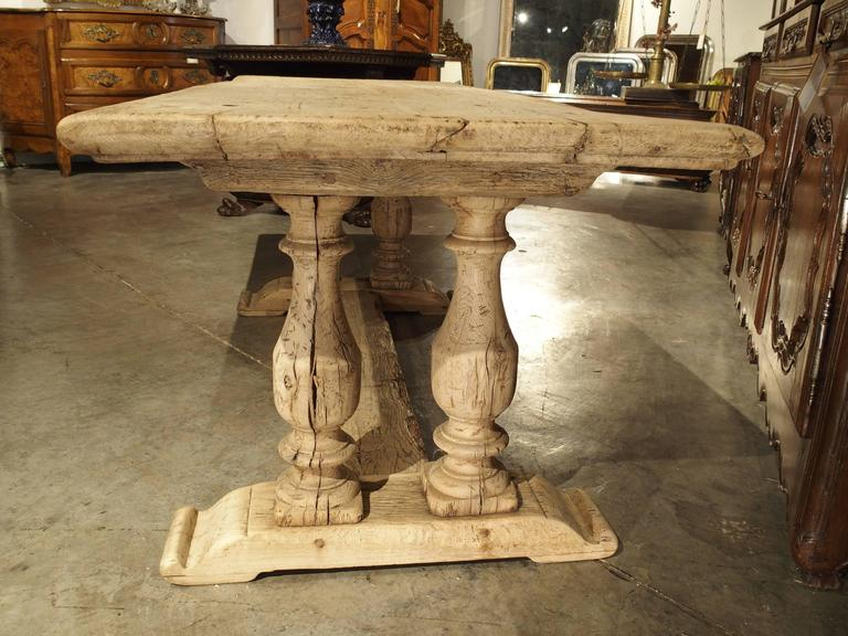 Antique French Farm Table with Baluster Legs, Bleached Oak, circa 1880 at 1stdibs