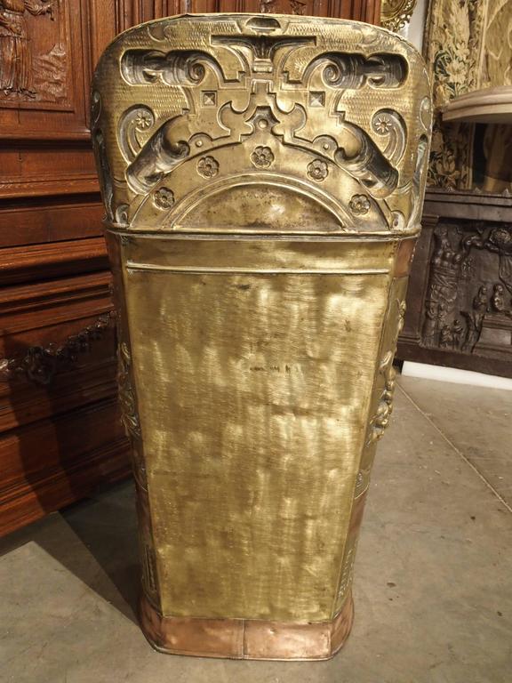 antique copper and brass repousse umbrella holder from france, 1800s Copper Umbrella Holder