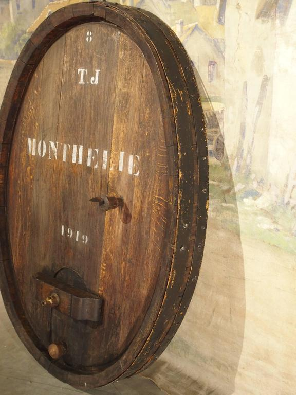 Large Antique Oak Wine Barrel Frontage From France Early