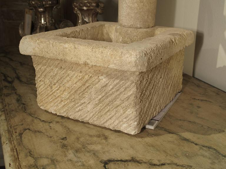 Contemporary Small Provence France Carved Limestone Fountain For Sale