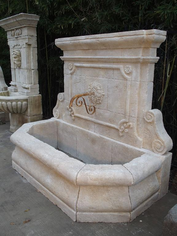 Carved Stone Fence : Large carved stone wall fountain from france at stdibs