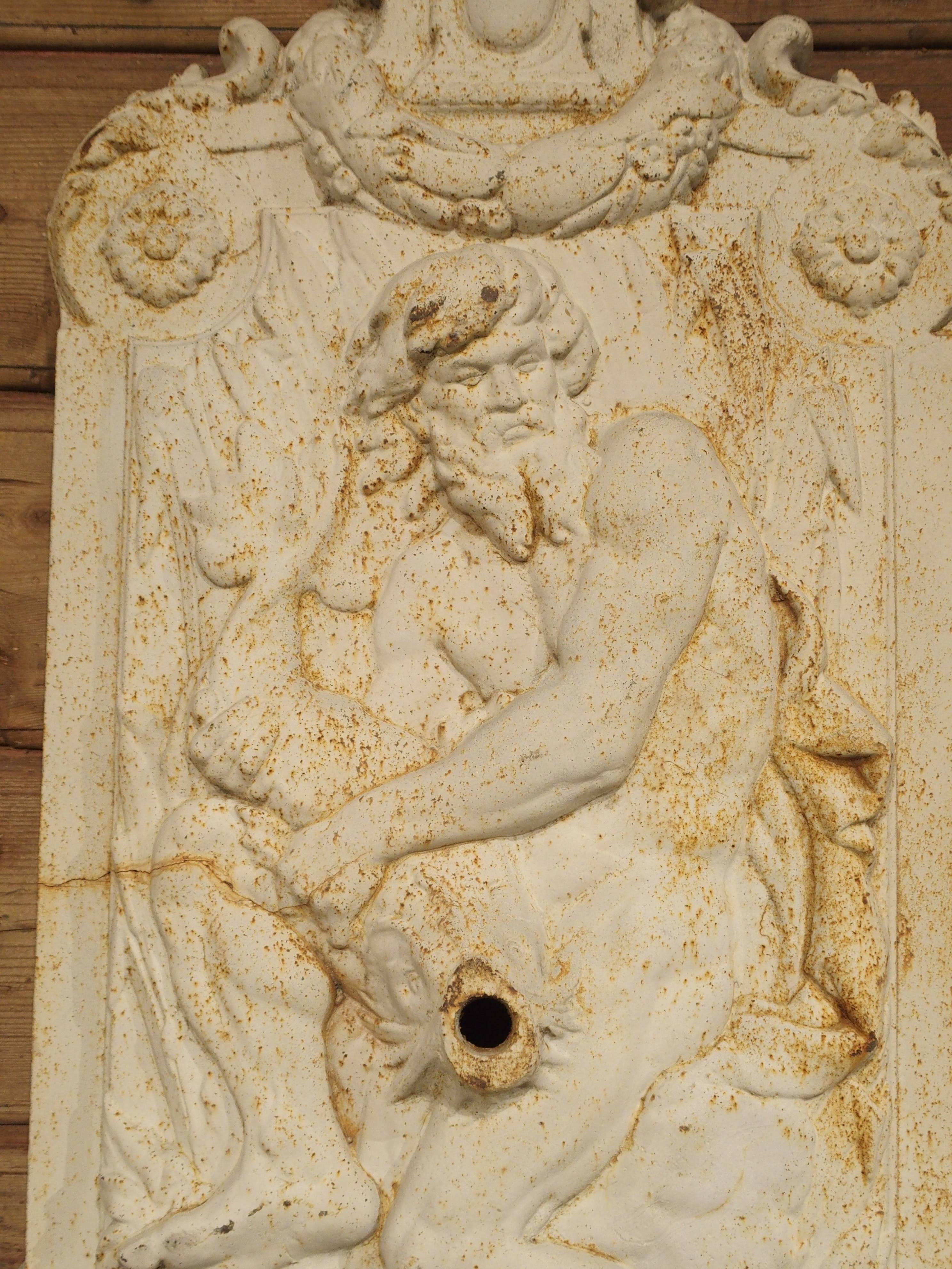 Antique Painted Cast Iron Neptune Wall Fountain from France For Sale ...